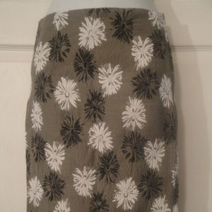 Worth NY Gray Floral Pencil Skirt 2 Cotton Blend